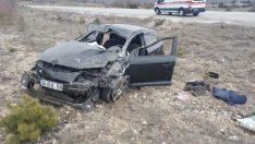 Araç araziye takla attı; 1 ölü, 2 yaralı