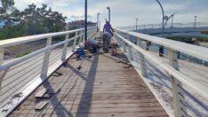 Osmancık'ta tahrip olan asma köprü bakıma alındı