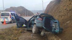 Takla atan otomobil hurdaya döndü: 1 yaralı